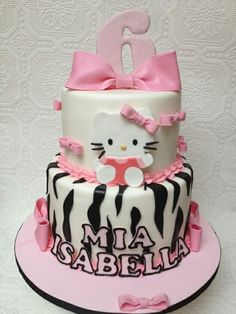 9 Hello Kitty Cake my Grand daughters would love this cake! Hello Kitty Favors, Hello Kitty Birthday Cake, Hello Kitty Cake, Birthday Cakes For Teens, 3rd Birthday Cakes, Character Cakes, Cupcake Cakes, Cupcakes, Girl Cakes