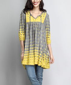 Gray & Yellow Gradient Dot Tie-Front Tunic