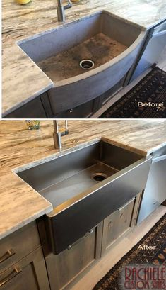 Kitchen Design Ideas and Hundreds of Photos of Unique Kitchen Sinks. Replacing a poorly designed and damaged concrete sink with a stainless farmhouse sink with a rear corn. Concrete Sink, Concrete Kitchen, Concrete Countertops, Stainless Farmhouse Sink, Stainless Steel Farmhouse Sink, Stainless Sink, Farmers Sink Kitchen, Kitchen Sinks, Home Decor Kitchen