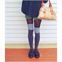 DIY knee highs. If you have tights you don't need anymore, cut them up so that they resemble knee high socks.