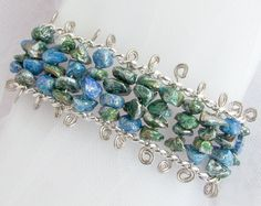 Bracelet with Blue & Green Paper Beads by PurpleDotBoutique, $28.00