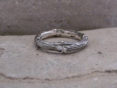 Items similar to Stackable twig ring ,Engagement or Wedding ring made to order in Sterling Silver with diamond on Etsy Wedding Ring For Him, Wedding Rings, Twig Ring, Wide Band Rings, Silver Rings, Sterling Silver, Diamond, Ring Engagement, Unique Jewelry