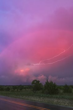 Red Rainbow and Anvil Crawler Lightning, Copperas Cove, TX, by Kelly DeLay, on flickr.