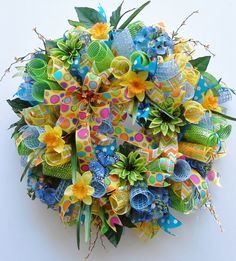 Spring Deco Mesh Wreath with Festive Ribbons by WredWrockWreaths, $155.00