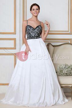 すばらしいA-ラインスパゲッティ・ストラップV-ネックチャペル刺繍飾りウェディングドレス