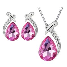 SusenstoneWomen Crystal Pendant Silver Plated Chain Necklace (Hot Pink). Susenstone(TM) is a registered trademark and the only authorized seller of susenstone branded products. Quantity: 1PC Gender: Women Color: As shown here. Nice accessories to integrate jewelry case for girls and collectors Match with suitable apparel for different occasion. Material:Alloy Earring Size:2.0Cm. Chain length:48CM Pendants Size:3.0CM.