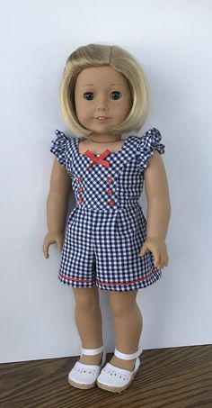 18 doll navy and white gingham romper with red trim