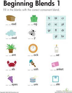 First Grade Phonics Spelling Worksheets: Beginning Blends 1
