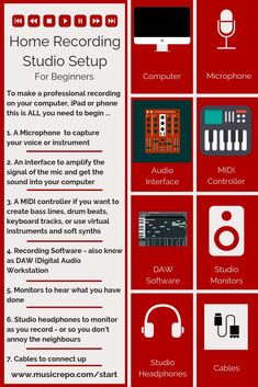 Everything you need to know about setting up your first home recording studio. All the basic essentials are covered. What you need to make high quality recordings at home. Home Recording Studio Setup, Home Studio Setup, Music Studio Room, Music Rooms, Audio Studio, Recorder Music, Music Music, Piano Music, Music Writing