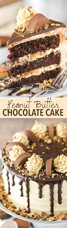 Peanut Butter Chocolate Layer Cake - filled with Reese\'s between the layers and so good!