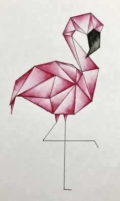Geometric flamingo watercolor Geometric flamingo watercolor The post Geometric flamingo watercolor & Aquarell appeared first on Geometric paint . Cool Art Drawings, Pencil Art Drawings, Art Drawings Sketches, Easy Drawings, Drawing Art, 3d Pencil Sketches, How To Draw Flamingo, Flamingo Art, Flamingo Drawings