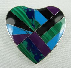 Silver Inlay Heart Pendant Brooch by VintageSparkleyBits on Etsy