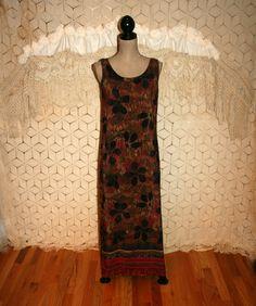 *90s Liz Baker Rayon Sleeveless Maxi Dress Size MEDIUM
