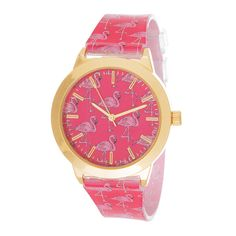 FORTUNE NYC Women's Gold Case / Pink Rubber Strap Flamingo Watch