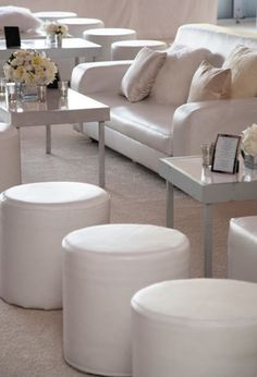 I believe these ottomans should be scattered a little more, with more of a glow through out the room, but the Lounge furniture accented with textured pillows and all-white flower arrangements encourages guests to relax and mingle. Hotel Lounge, Lounge Decor, Lounge Furniture, Accent Furniture, Wedding Furniture, Cocktail Party Decor, White Flower Arrangements, Night And Day Furniture, King Storage Bed