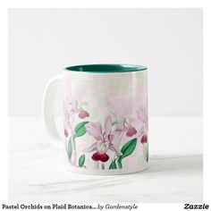 Pastel Orchids on Plaid Botanical Ceramic Mug
