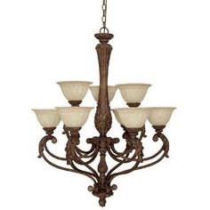 (CLICK IMAGE TWICE FOR UPDATED PRICING AND INFO) #home #ceiling #homeimprovement #homedecor #lighting  #lights #lightandfixture #chandeliers see more chandeliers at http://www.zbrands.com/Chandeliers-C35.aspx -Capital Lighting Chandeliers - Monarch 9 Light Chandelier with Rust Scavo Glass Shade