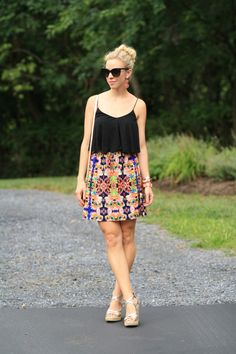 Island-Inspired: black crop top cami, floral print graphic skirt, gold wedges, Chanel black cateye sunglasses, island style, beachy look
