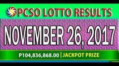 PCSO Lotto Results November 26, 2017 (6/58, 6/49, SWERTRES & EZ2 LOTTO) Lotto Results, Youtube, November 23, Youtubers, Youtube Movies