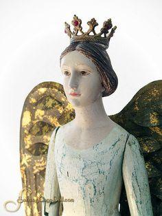 "SantosCageDoll.com — 20"" Aqua and Ivory Painted Tin Skirt Santos Angel"