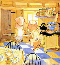 Toot and Puddle's kitchen - from a classic children's book.  We like the warmth of color, simple farm kitchen, and the pigs.  Not sure if Buildsense offers pigs with their homes?