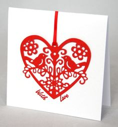The Lovebirds A beautifully simple romantic card handmade with satin foil card and ribbon