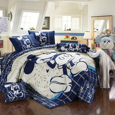 Mickey and Minnie Mouse King Queen Adults Cartoon Bedding Set 4 Pcs Cotton Bed Sheet T7 White Blue Linens Doona Duvet Cover and 2 Pillowcase