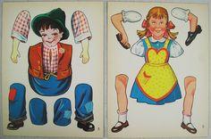 Zwei Bastelbogen Ausschneidebogen Papier 50er Jahre - Hampelmann Junge Mädchen | eBay