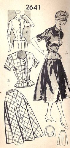 femininely tailored two piece dress ensembles from 1952 (Mail Order Pattern 2030). 1950s