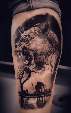 Inner Bicep Tattoo, Leg Tattoo Men, Arm Tattoos For Guys, Leg Tattoos, Sleeve Tattoos, Tattos, Animal Sleeve Tattoo, Lion Tattoo Sleeves, Animal Tattoos