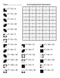 Worksheets Factoring Quadratic Equations Worksheet worksheets factors and squares on pinterest factoring quadratic expressions color worksheet 1 25 problems with leading