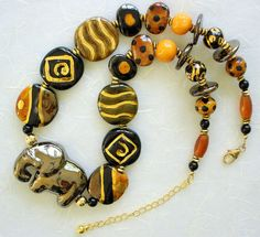 African Kazuri Elephant Beaded Necklace Black by JeanieHDesigns, $119.00