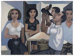 """""""Cinc persones i una taula"""", oli sobre tela 1949-54. 89 x 116 cm - Museum of Montserrat"""