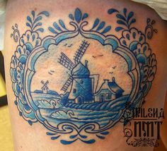 blue tattoo by Milena in Ottawa at New Moon #delft #blue #pottery                                                                                                                                                                                 More