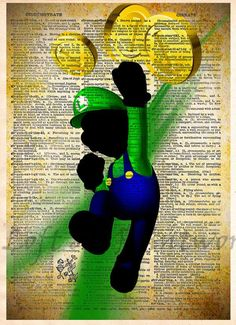 Mario pop art, Luigi, Super Mario brothers poster, video game art printed in a cool pop art style on vintage dictionary page These unique and original artwork are printed on authentic vintage early 19