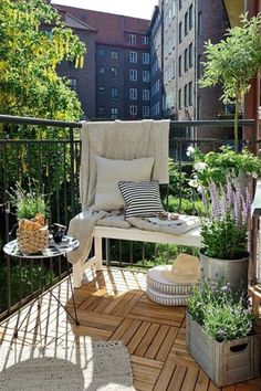 small balcony with wooden floor and lavander