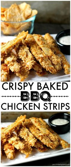 Three ingredient gluten free Crispy Baked BBQ Chicken Strips made with Vans Multi-Grain BBQ Chips can be whipped up in about 30 minutes so they're perfect for a weekday dinner! | Persnickety Plates