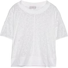 Adidas by Stella McCartney Devoré cotton-blend T-shirt (€40) ❤ liked on Polyvore featuring tops, t-shirts, white, loose white t shirt, cotton blend t shirt, loose fit tops, loose tops and loose tee