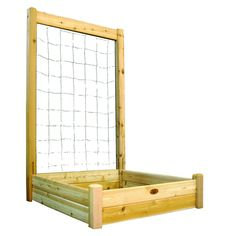 48 in. x 48 in. x 13 in. Raised Garden Bed with 48 in. W x 80 in. H Trellis Kit, Western Red Cedar Unfinished