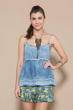 Blusa Jeans Detalhe Tiras - 02014544 | Oh, Boy! - ohboy