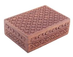 "Bulk Wholesale Jewelry Box with Floral Motif Carving in Rosewood – 6.8"" Hand-Carved Keepsake / Trinket Box with Brass Inlay Work – Antique-Look Boxes from India"