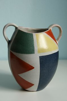 Krösselbach Fayence Keramik vase by Cläre Zange, height: ca. 15 cm. 1950s. WGP West German pottery.