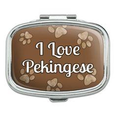 I Love Heart Dogs - Pekingese - Rectangle Pill Box, Grey