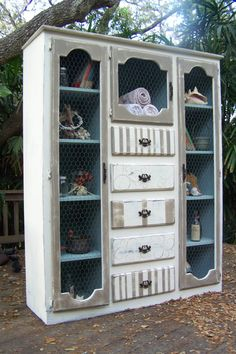 Junk Drawer Divas on etsy - Rustic Beach Cabinet