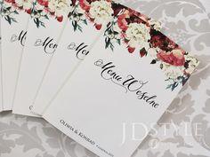 Menu weselne piwonie czerwone i białe, kwiatowe karty ze spisem dań podawanych na weselu lub innym przyjęciu, model FL-31-M. Passport, Model, Mathematical Model, Scale Model, Models, Modeling, Mockup, Pattern