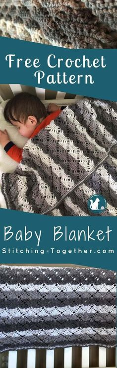 GORGEOUS crochet baby blanket! I've found the perfect baby shower gift sure to be treasured for many years. The unisex colors and pattern make it a great addition to any nursery. Make this beautiful, gender neutral, modern crochet baby blanket. Free Crochet Pattern by Stitching Together