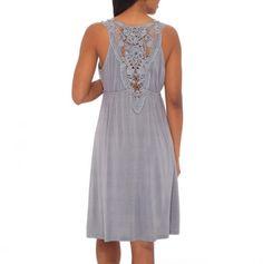 Surplice Dress with Crochet Yoke Back