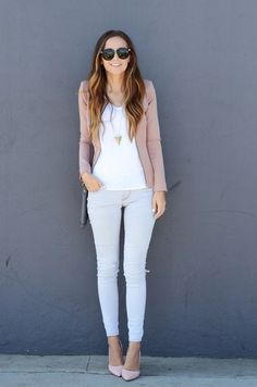 I would pair the top & jacket with a darker denim but super cute