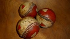 PRIMITIVE NO WOOD BASEBALL VALENTINES DAY BALL BOWL FILLER CRACKLE COUNTRY DECOR