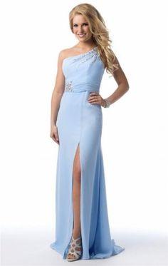 Long Blue Beaded One Strap Slit Prom Dresses 2015